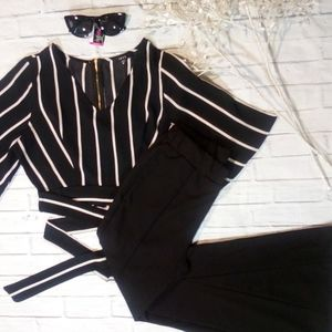 New- Flare Knit Pant & Stripe Top W/Shades